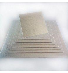 Base cuadrada plateada semi-rígida 30cm