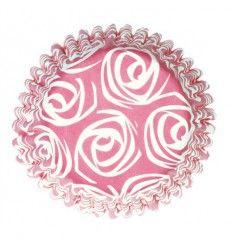 Capsulas rosas con rosas blancas, 54 ud