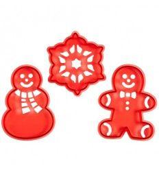 Cortadores galletas con stencil navidad 3 piezas