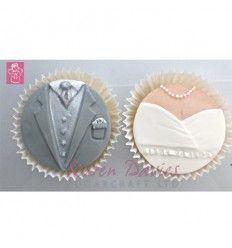Molde silicona novio y novia para galletas o cupcakes