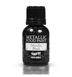 Pintura comestible metalizada Negra, 25ml