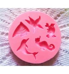 Molde silicona mini formas marinas
