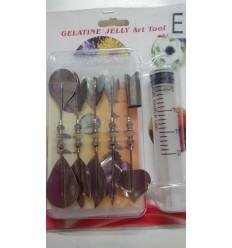 Set de 10 Gubias y jeringa para gelatina artística floral E
