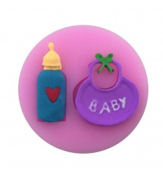 Molde silicona babero y bibe de bebe